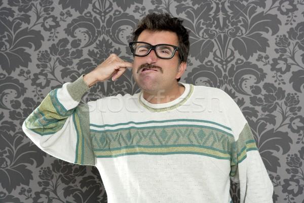 cleaning ear finger dirty nerd man retro Stock photo © lunamarina
