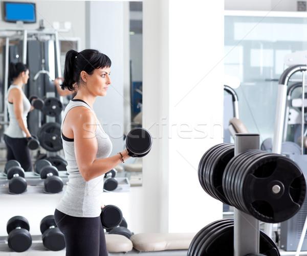 Stock fotó: Nő · súlyzós · edzés · felszerlés · sport · tornaterem · klub