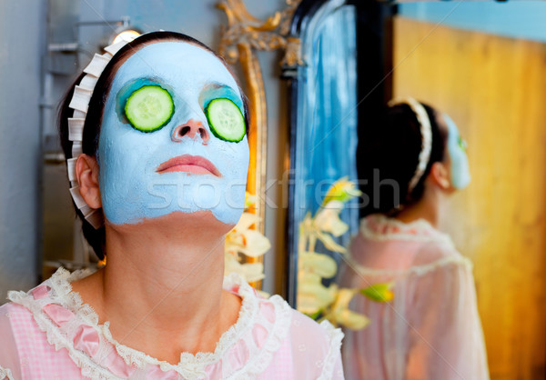 Funny housewife beauty green clay mask Stock photo © lunamarina