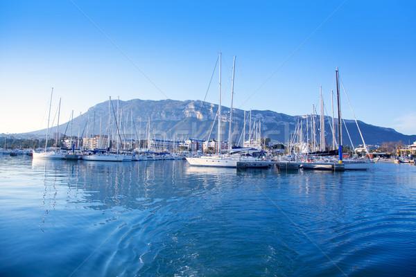 Marina kék mediterrán kikötő tenger Spanyolország Stock fotó © lunamarina