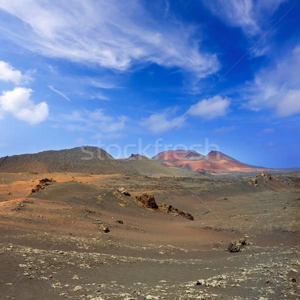 Brand bergen vulkanisch lava park steen Stockfoto © lunamarina