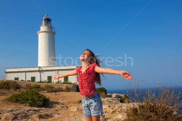 Bleu jour Kid fille ouvrir mains Photo stock © lunamarina