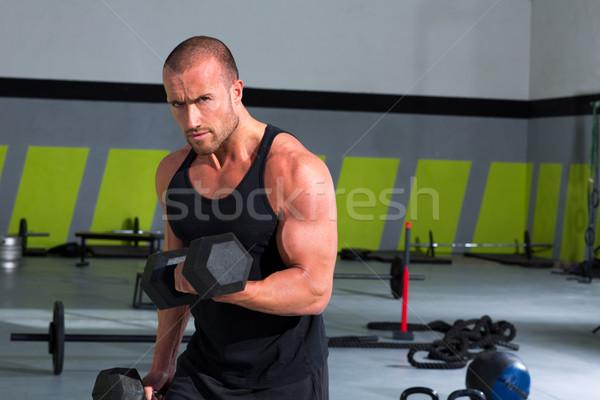 спортзал человека гантели осуществлять crossfit весов Сток-фото © lunamarina