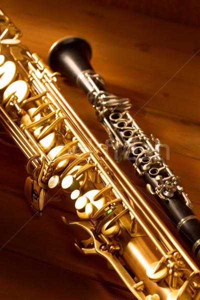 Klasszikus zene szaxofon szaxofon klasszikus fa Stock fotó © lunamarina