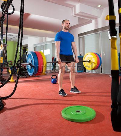 Сток-фото: Crossfit · фитнес · спортзал · Бар · группа