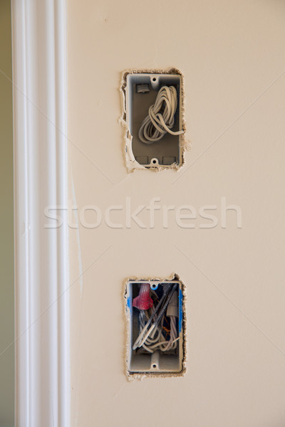 electrical box for switch and plug with wires Stock photo © lunamarina