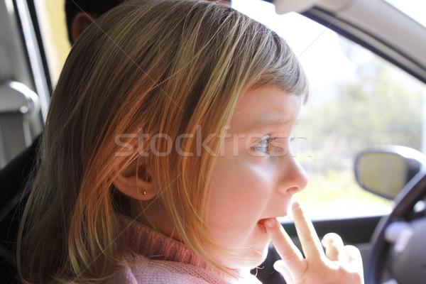 little girl blond profile in car interior portrait Stock photo © lunamarina