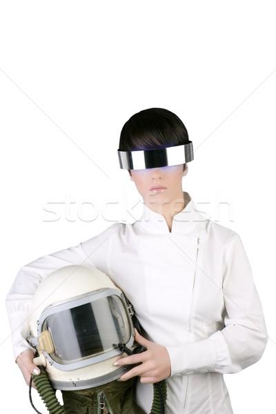 Futurystyczny statek kosmiczny samolotów astronauta kask kobieta Zdjęcia stock © lunamarina