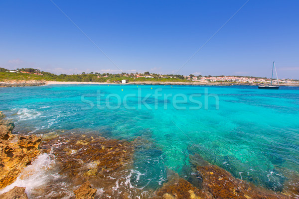 Binibeca beach in Menorca at Binibequer Vell village Stock photo © lunamarina