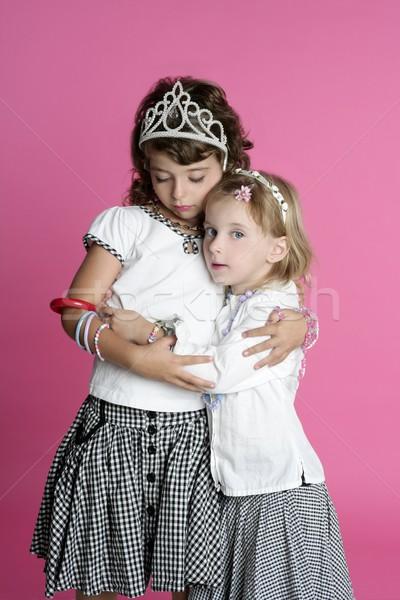 two sisters little girl friends hug stand Stock photo © lunamarina