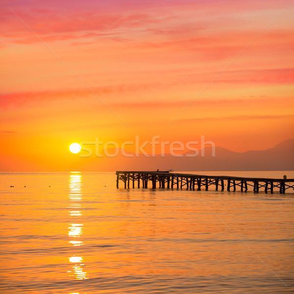 Majorca Muro beach sunrise Alcudia Bay Mallorca Stock photo © lunamarina