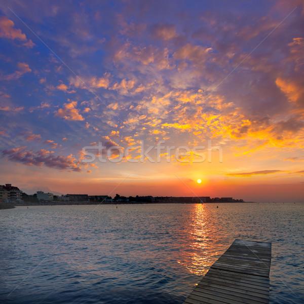 ビーチ 日没 地中海 スペイン 夕暮れ 雲 ストックフォト © lunamarina