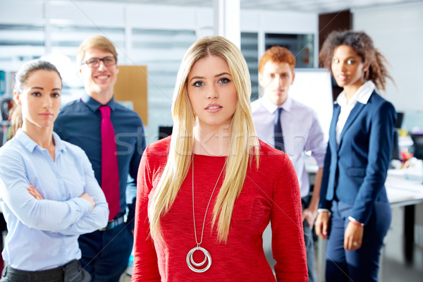 Stock photo: Blond young businesswoman multi ethnic team