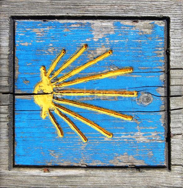 Way of Saint James wooden pilgrims road sign Stock photo © lunamarina