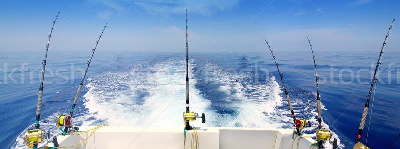 Сток-фото: лодка · рыбалки · Троллинг · панорамный · стержень · синий