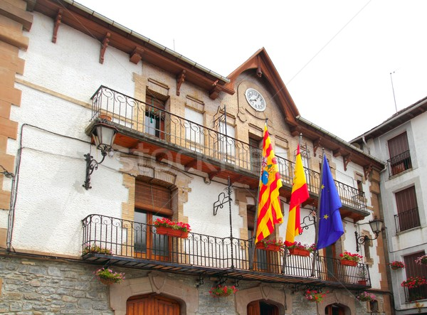 Anso city council facade building Pyrenees Stock photo © lunamarina