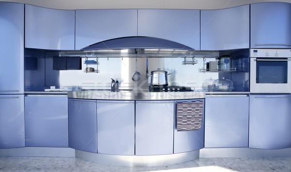 Blauw zilver keuken moderne architectuur decoratie interieur Stockfoto © lunamarina