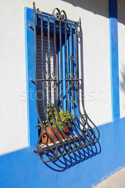 Mediterrânico azul casas praia primavera rua Foto stock © lunamarina