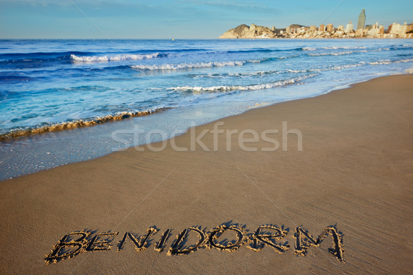 Benidorm written spell word letters in Alicante Stock photo © lunamarina