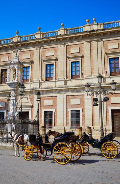 Seville Archivo Indias horse carriage in Sevilla Andalusia Spain Stock photo © lunamarina