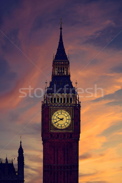 Big Ben horloge tour Londres coucher du soleil Angleterre Photo stock © lunamarina