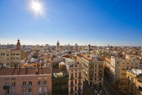 Valencia sziluett óváros légifelvétel Spanyolország tájkép Stock fotó © lunamarina