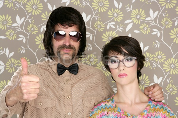 nerd silly couple retro man woman ok hand sign Stock photo © lunamarina