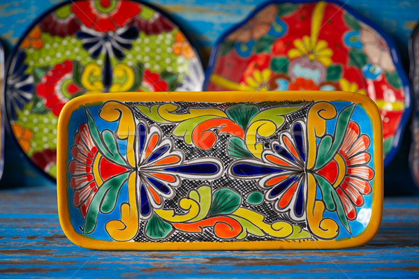 Mexican poterie style Mexique plateau main Photo stock © lunamarina