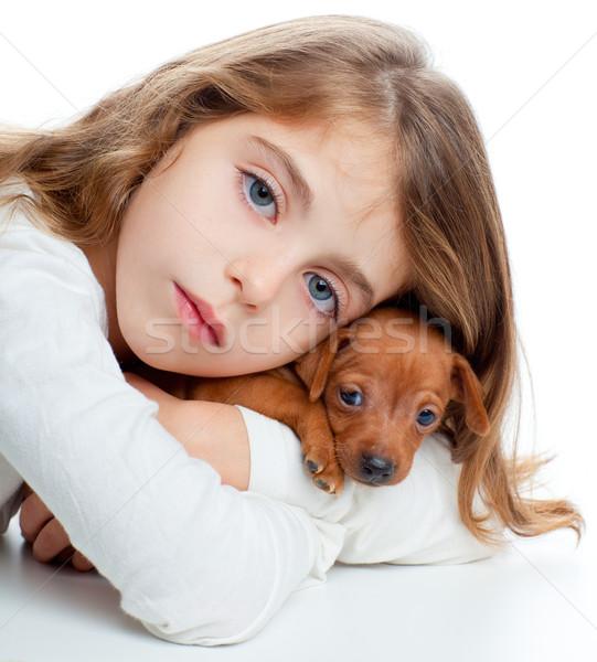 brunette kid girl with mini pinscher pet mascot dog Stock photo © lunamarina