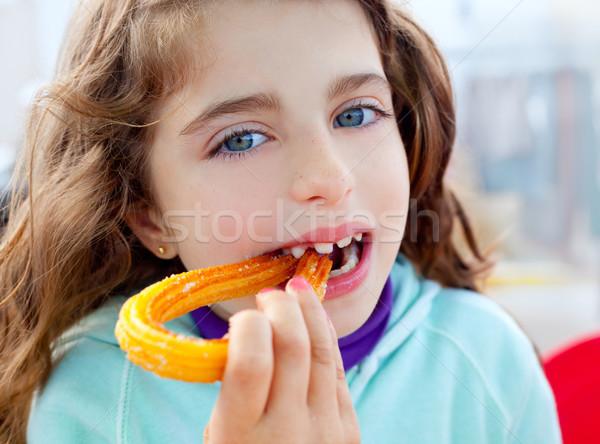 青い目 女の子 食べ フライド 少女 幸せ ストックフォト © lunamarina