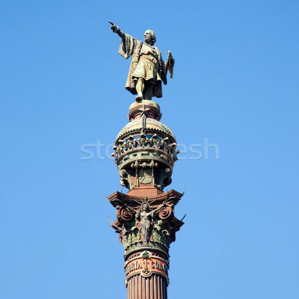 Barcelona Cristobal Colon statue on blue sky Stock photo © lunamarina