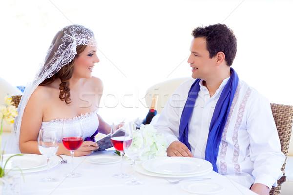 Pár esküvő nap nő olvas könyv Stock fotó © lunamarina