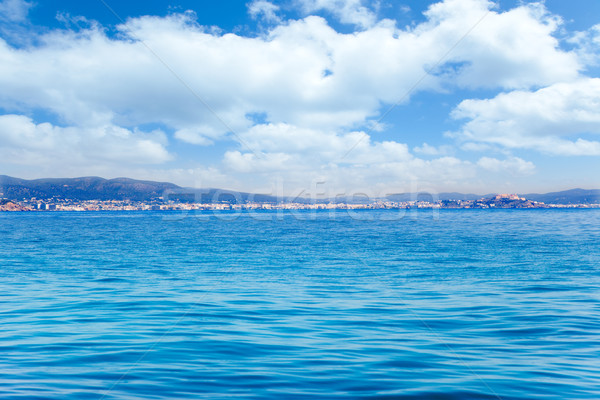 Stock photo: Balearic Ibiza island general view from open sea
