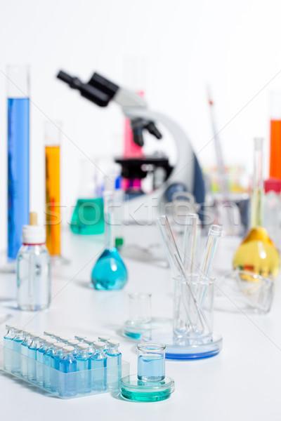 Chemische wetenschappelijk laboratorium reageerbuis microscoop Stockfoto © lunamarina