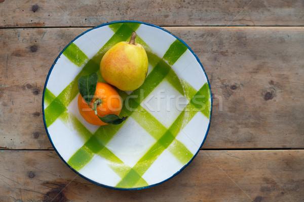 Gyümölcsök mandarin körte klasszikus porcelán edény Stock fotó © lunamarina