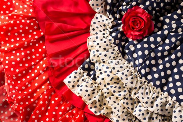 фламенко Платья красный синий место красную розу Сток-фото © lunamarina