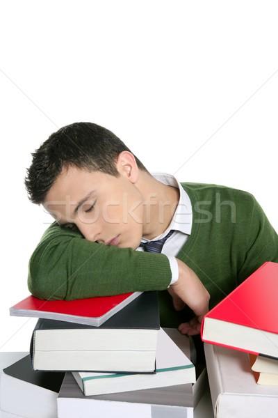Сток-фото: мальчика · студент · спальный · книгах · столе