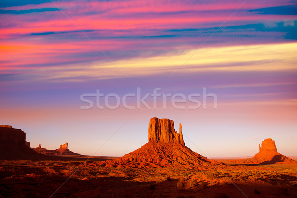 Monument Valley West Mitten and Merrick Butte sunset Stock photo © lunamarina