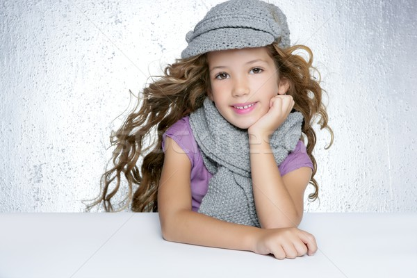 Stock photo: winter cap wool scarf litle fashion girl wind on hair