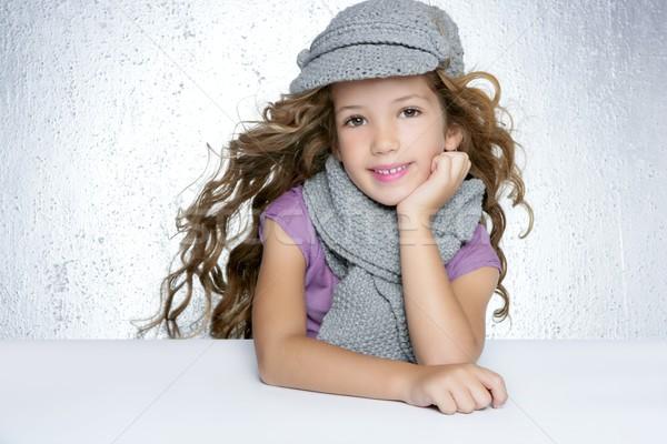 Stock foto: Winter · cap · Wolle · Schal · Mode · Mädchen