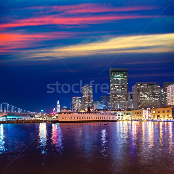 San Francisco sunset skykine from Pier 7 in California Stock photo © lunamarina