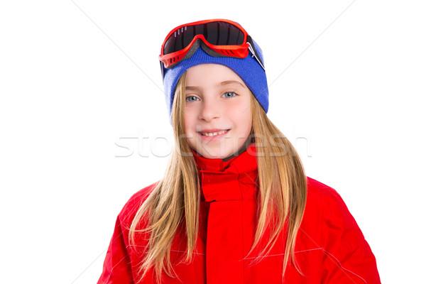 ブロンド 子供 少女 冬 肖像 スキー ストックフォト © lunamarina