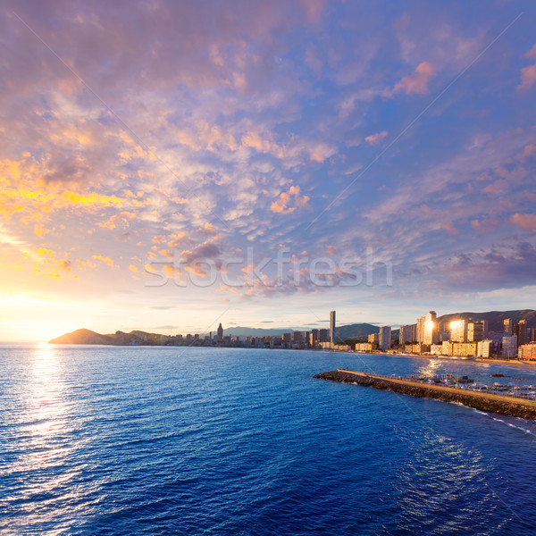 Benidorm Alicante sunset playa de Poniente beach in Spain Stock photo © lunamarina