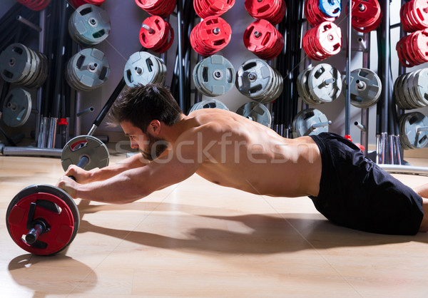 Barbell man training fitness gymnasium gewichtheffen Stockfoto © lunamarina