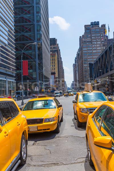 タイムズ·スクエア ニューヨーク 黄色 タクシー 日光 タクシー ストックフォト © lunamarina