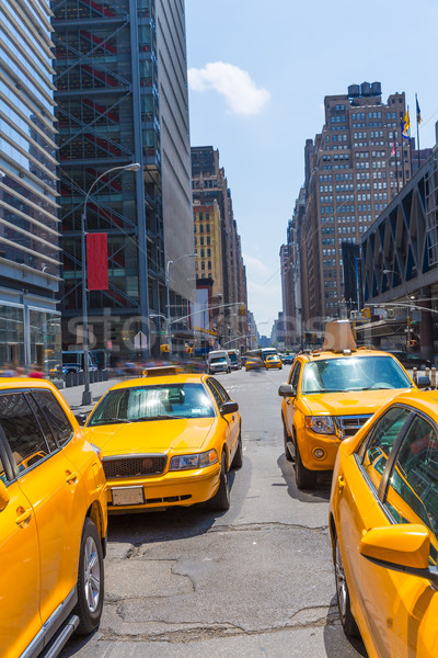 Times Square New York citromsárga taxi napfény taxi Stock fotó © lunamarina