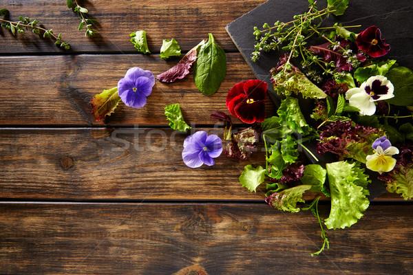 свежие Ингредиенты салата цветы шпинат деревенский Сток-фото © lunamarina