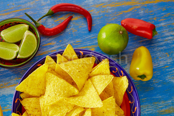 Mexican food nachos with guacamole chili peppers Stock photo © lunamarina