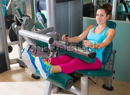 Pilates reformer woman long stretch exercise Stock photo © lunamarina