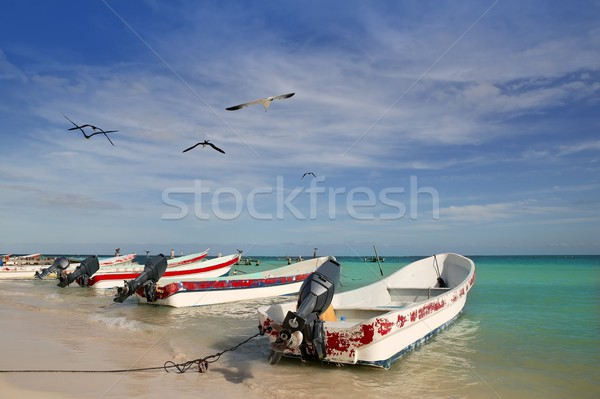 Mayan Riviera Mexico Puerto Morelos boats Stock photo © lunamarina